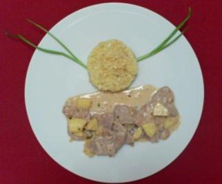 Rezept: Zartes Filet mit Ingwer auf Apfel-Calvadossoße an Safranrisotto