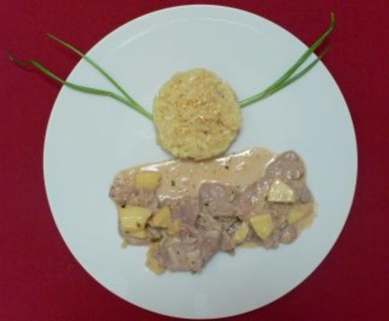 Zartes Filet mit Ingwer auf Apfel-Calvadossoße an Safranrisotto - Rezept - Bild Nr. 2