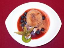 Gebackene Schoko-Pflaumen auf Pflaumen-Zimtmus & exotischen Früchten - Rezept - Bild Nr. 2