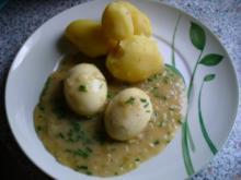 Eier - wachsweichgekocht mit Senf-Sahne-Soße - Rezept