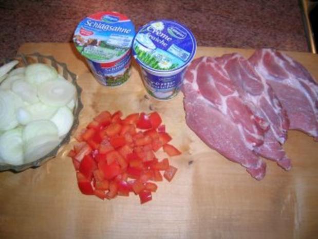 Zwiebel-Sahne-Schnitzel  mit Kartoffelpüree(oder Kotelett/Putenschnitzel/Hähnenbrustfilets - Rezept - Bild Nr. 3