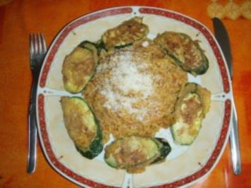 """Zucchini - Picata mit Uncle Bens Reis """" Mexicanisch """" und Salat - Rezept"""