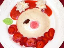 Joghurtpudding mit in Rosenlikör marinierten Erdbeeren - Rezept