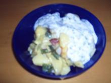 Kartoffelsalat mit Radieschen und Lauchzwiebeln und Joghurtdressing - Rezept