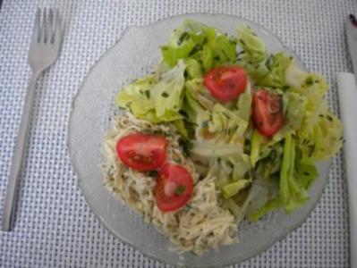 Rindshuft mit Teigwaren und Salat - Rezept
