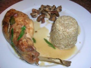 Rezept: Kaninchenkeulen in Estragonsauce mit Steinpilz-Timbale