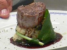 Filet vom Kalb in Balsamicojus auf Bärlauchrisotto - Rezept