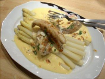Stangenspargel an Vanille-Hollandaise mit Seeteufel-Filets - Rezept