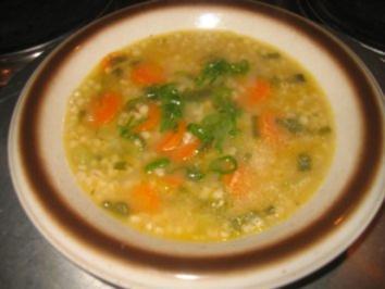 Suppe: Frühlingszwiebel - Graupensüppchen - Rezept