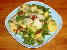 Kartoffelsalat mit grünen Bohnen und Speck - Rezept