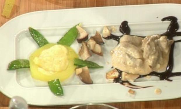 Kalbsblankett mit Zuckerschoten, Pilzen und gefülltem Kohlrabi (Elke Koska) - Rezept