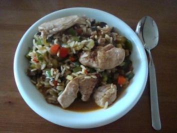Reis mit buntem Gemüse und Hähnchenbrust - Rezept