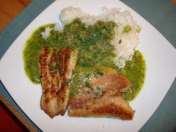 Fisch mit Reis und Bärlauchsoße - Rezept