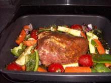 """Schweinebraten """"Greek"""" mit  Schmorgemüse und Rosmarinkartoffel - Rezept"""