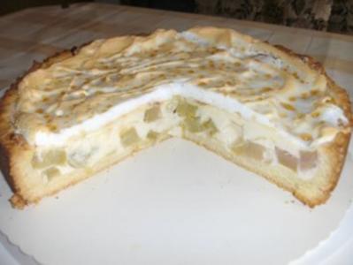 Rhabarberkuchen mit Vanillepudding - Rezept