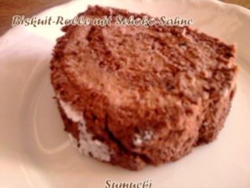 Biskuitrolle mit Schoko-Sahne - Rezept