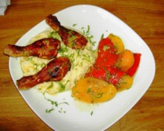 Rezept: Hähnchensticks mit Polenta und Marinierter Paprika