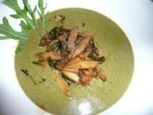 SUPPE/GEMÜSE:Spinatsuppe mit gebratenem Spargel - Rezept