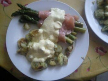 Spargel-Lachs-Röllchen mit Petersilienkartoffeln - Rezept