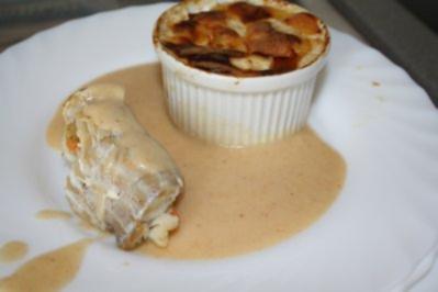 Rezept: Seelachsrouladen an Butter-Creme und Kartoffel-Gratin