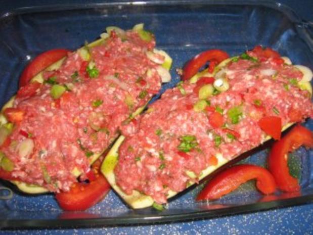 Aubergine gefüllt unter einer Mozzarellahaube - Rezept - Bild Nr. 5