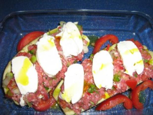 Aubergine gefüllt unter einer Mozzarellahaube - Rezept - Bild Nr. 6