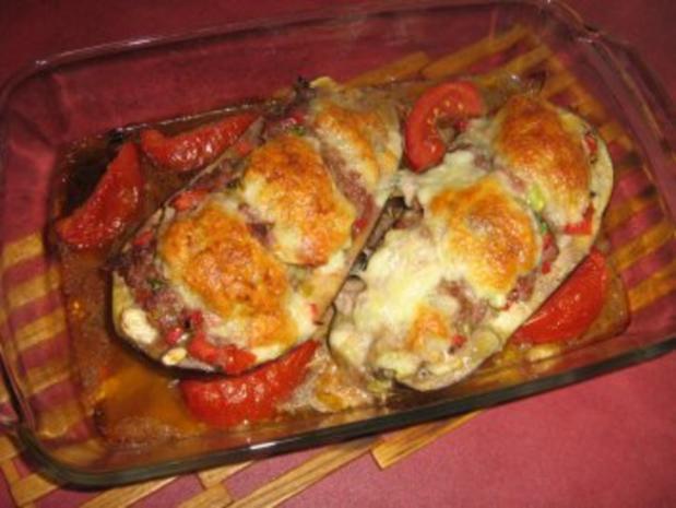 Aubergine gefüllt unter einer Mozzarellahaube - Rezept - Bild Nr. 7