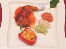 Hähnchenkeule an dreifarbigem Reis und Paprika-Maisgemüse - Rezept - Bild Nr. 9