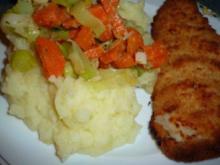 Backfisch mit Möhren-Lauch-Gemüse im Kartoffelnest - Rezept