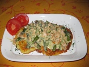 Rezept: ♥  Kartoffelpuffer mit Spargel-Lachs-Ragout  ♥  Bilder sind ON !