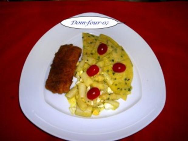 Seelachs Filet in Panade mit Haferflocken und etwas Paprika. an Spargelsalat - Rezept - Bild Nr. 2
