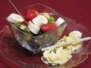 Schokobrunnen mit frischen Früchten und Vanilleeis - Rezept