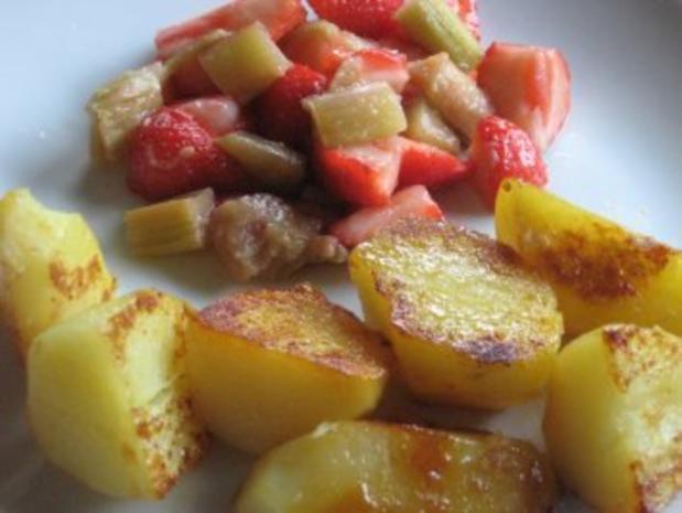 Karamellkartoffeln & Erdbeer-Rhabarbersalat - Rezept