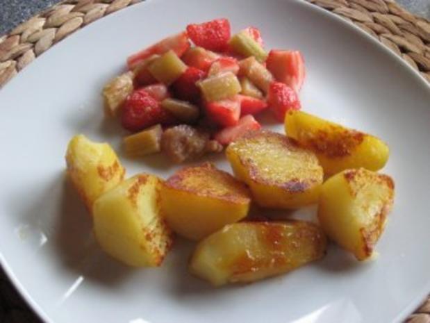 Karamellkartoffeln & Erdbeer-Rhabarbersalat - Rezept - Bild Nr. 2