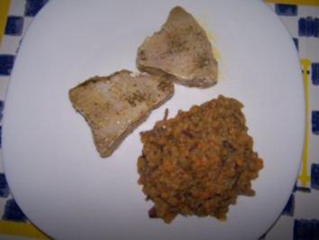 Thunfischsteak auf Linsengemüse - Rezept