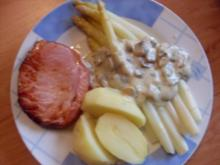 Spargel mit Pilzrahm und Kasseler - Rezept