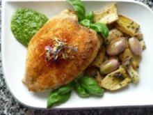 Hähnchenbrust mit Kräuterseitlingen und Schalotten an Babyspinat-Pesto - Rezept