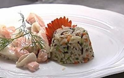 Fischkordel aus Edelfischen mit Gemüsereis an Orangen-Holunderblütensoße - Rezept