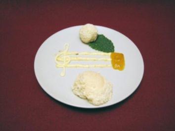 Grießflammerie auf Lavendel-Aprikosenspiegel mit Zitronentrüffel - Rezept