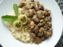 """Herziges """"Gulasch"""" mit frischen Champignons und Reis - Rezept"""