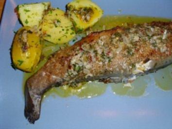 Forelle gebraten mit Petersilienkartoffeln und Zitronenbutter - Rezept