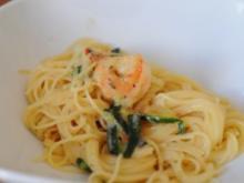 Pasta mit Garnelen, Zucchini und Tomaten - Rezept