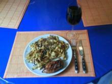 Geflügel: Hähnchenbrustfilet mit Curry-Ananas-Bandnudeln - Rezept