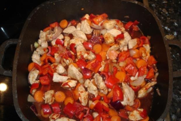 Hähnchen in Rotwein - Rezept
