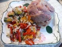 Pfannengerichte - Reis-Gemüsepfanne mit Minieisbein - Rezept