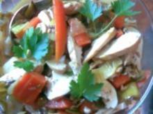 Gemüsesalat mit Hähnchenstreifen - Rezept