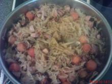 Kassler-Sauerkraut Pfanne mit Papayabällchen - Rezept