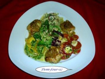 Salat gemischt ,  mit Hähnchenbrust Roulade - Rezept
