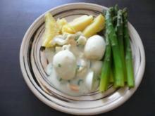 Hauptgericht : Senfeier mit grünem Spargel und Salzkartoffeln - Rezept