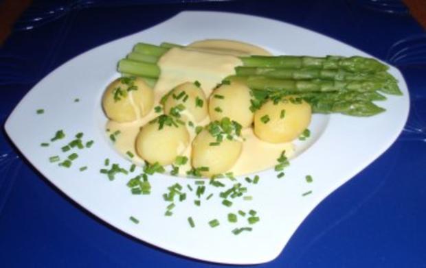 Grüner Spargel mit Butterkartoffeln und Soße Hollandaise - Rezept - Bild Nr. 7